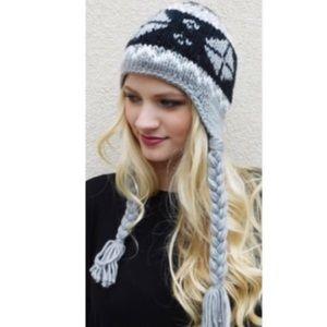 Gray Fairisle Snowflake Beanie Hat
